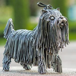 dog shitzu scrap metal sculpture