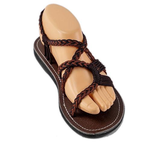 Braided sandals dark brown lolita style