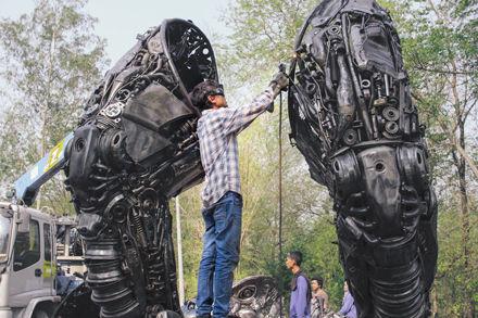 Metal art trex dinosaur life size2