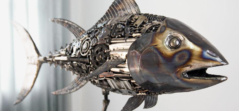 Tuna fish metal sculpture made from recycle scrap metal