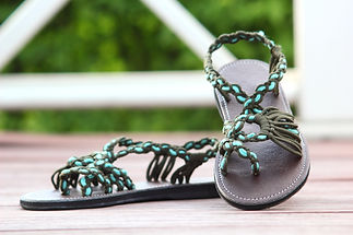 sandals for women rose design green light blue color by nittynice