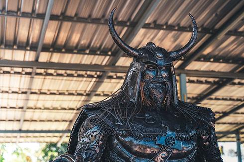 viking warrior metal sculpture face