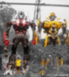 Build large transformer optimus bumblebee metal sculpture