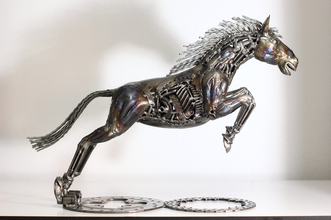 Metal horse sculpture