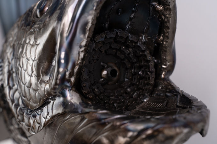 Seabass fish metal art sculpture artwork