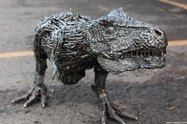 T-rex jurassic park metal sculpture inspired, front