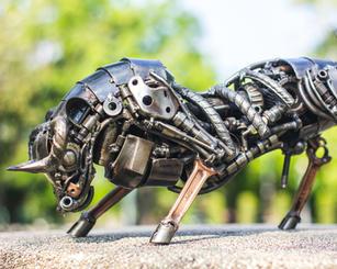 Bull scrap metal sculpture