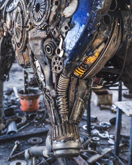 Horse life size scrap metal art sculpture back part