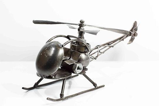 Helicopter bell47 model type 2 scrap metal sculpture 1