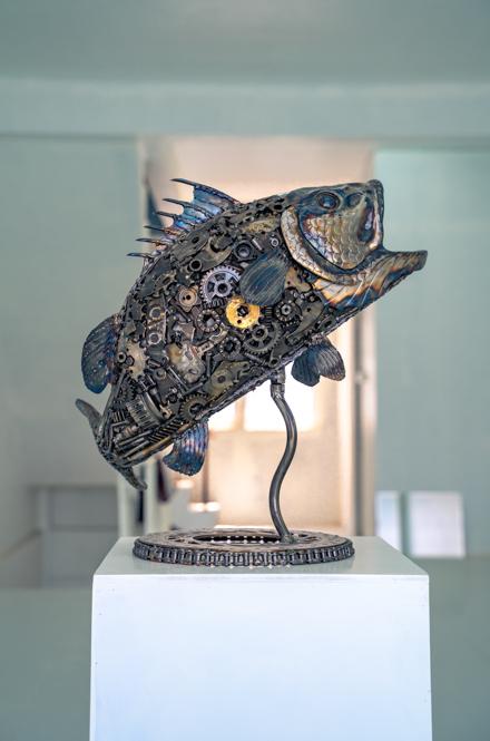 Sea bass fish metal