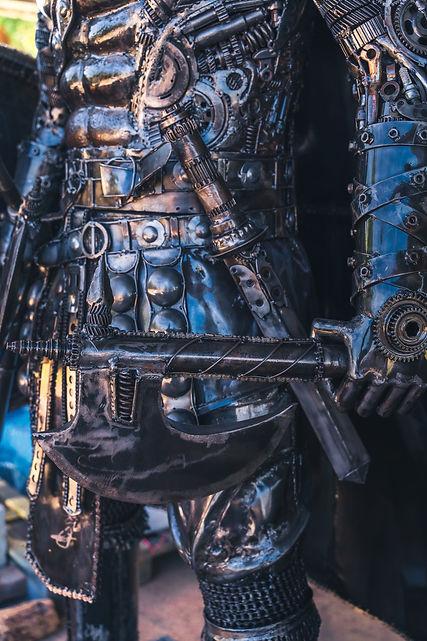 scandinavian warrior metal sculpture body