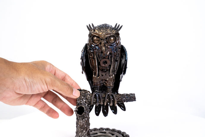 Owl small metal art sculpture artwork-4.