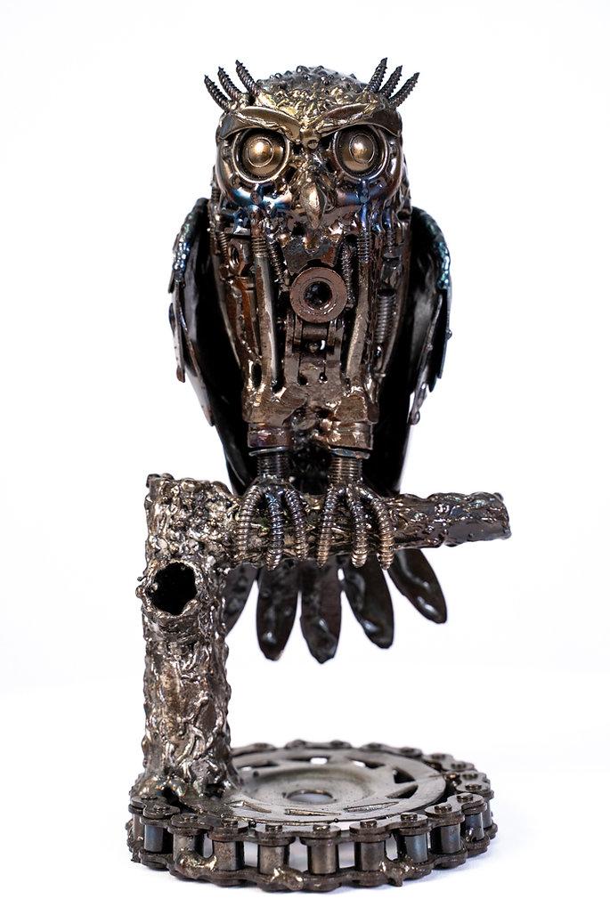 Owl small metal art sculpture artwork-8.