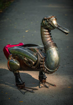 Duck scrap metal art