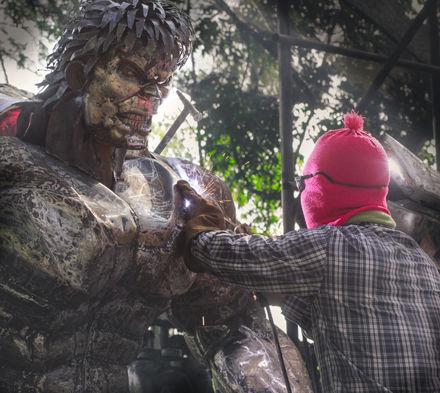 Hug metal sculpture movie inspired