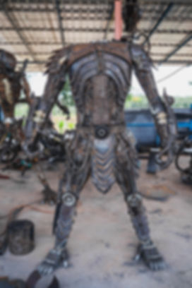 Predator metal sculpture making body