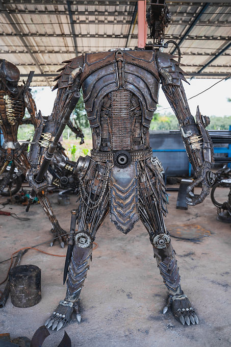 Predator metal sculpture making body