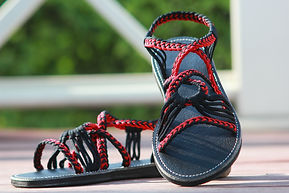 sandals for women daisy design black red color by nittynice
