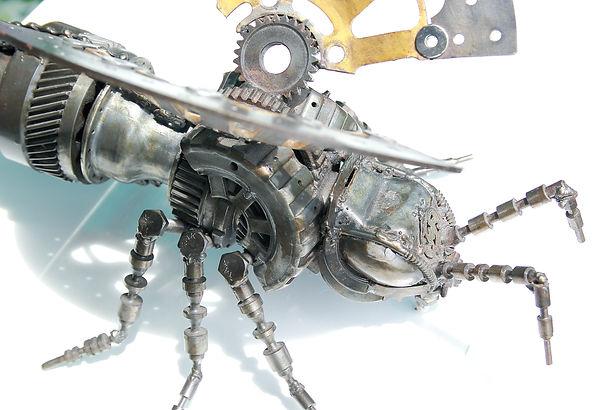 Scrap metal animal art work in bee body