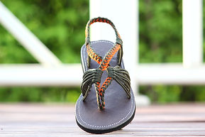 sandals for women baily style orange green color by nittynice