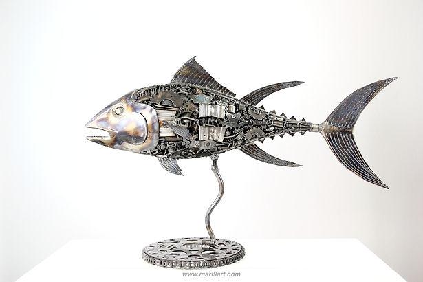 Tuna fish metal sculpture made from recycle scrap metal 2