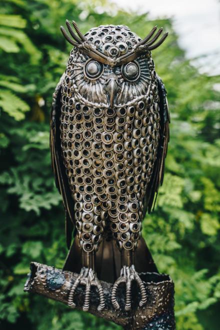 Standing Owl metal art