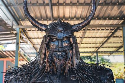 metal viking warrior face front