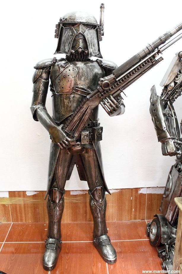 Stunning Stromtrooper starwar recycled metal art sculpture