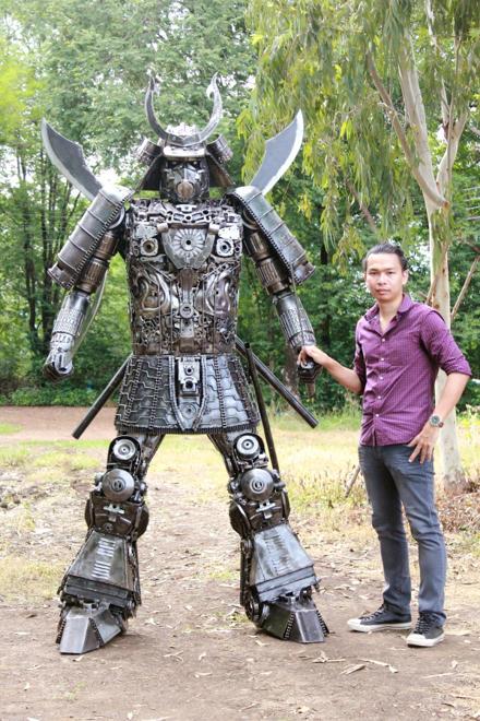 Samurai warrior metal artwork