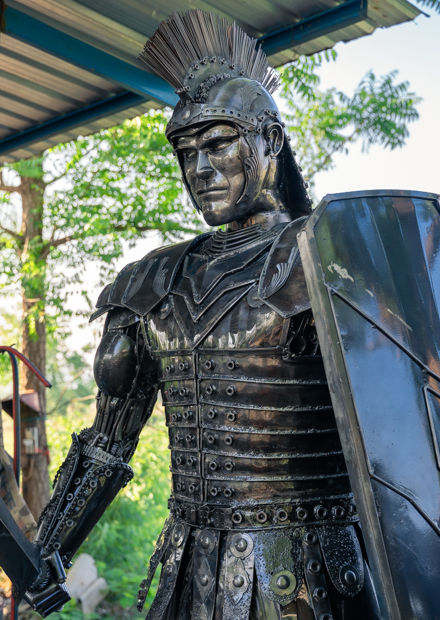 making roman warrior scrap metal sculptu