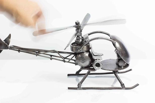 Helicopter bell47 model type 2 scrap metal sculpture 2