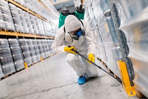 Exterminator in industrial plant sprayin