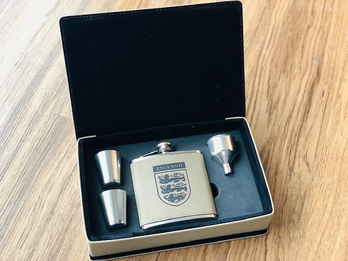 Faux Leather Hip Flask with Shot Glasses