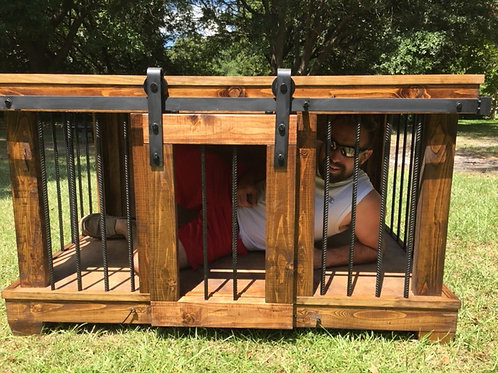 Large Dog Kennel with Barn Door Hardware