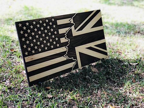 Tattered US /Union Jack Combo Flag Wall Decor