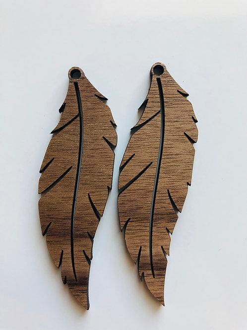 Walnut Feather Earrings