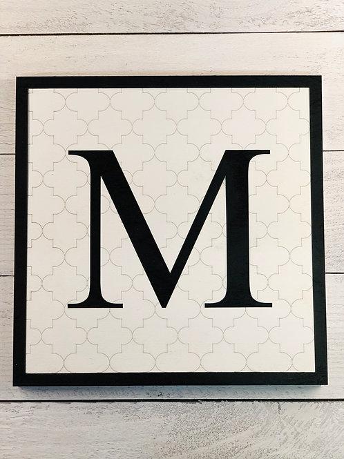 Monogram Tile Effect Wall Art