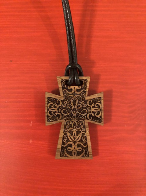 Walnut Cross Necklace