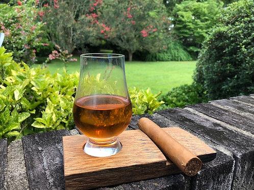 Whiskey Barrel Stave Glen Cairn Glass & Cigar Holder