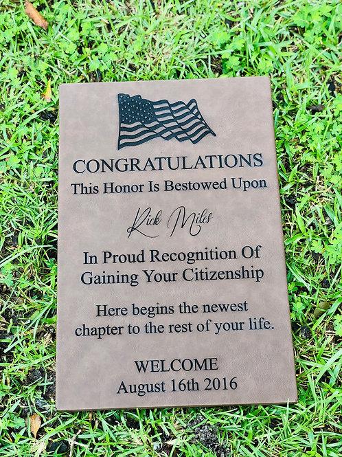 Leather Citizenship Plaque
