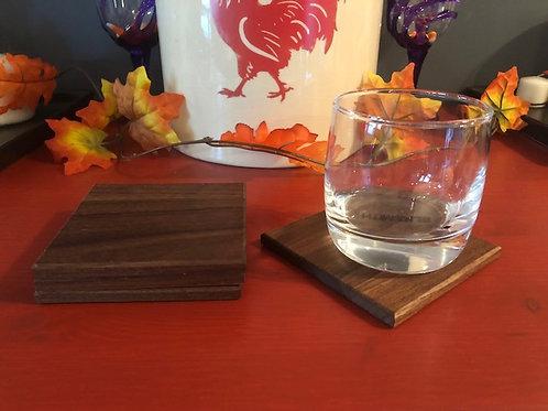 Set of Four Walnut Coasters