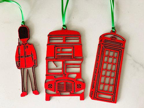 Set of Three British Christmas Ornaments