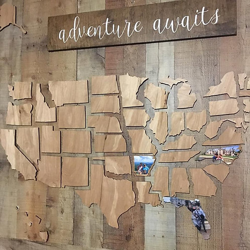 USA Wooden Map Cut Out