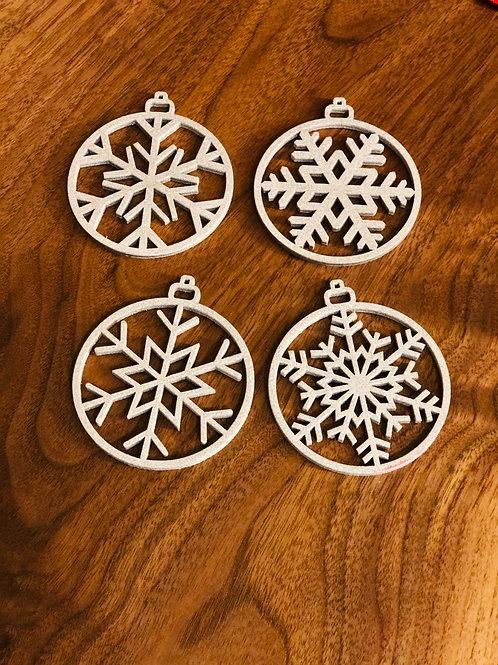 Set of Four Snowflake Christmas Ornaments