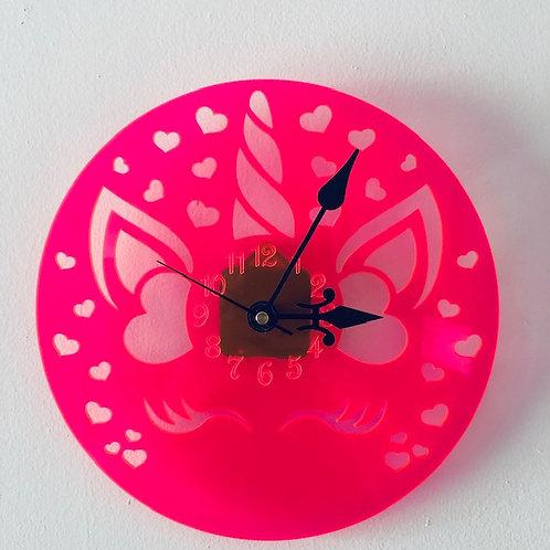 Neon Pink Unicorn Clock