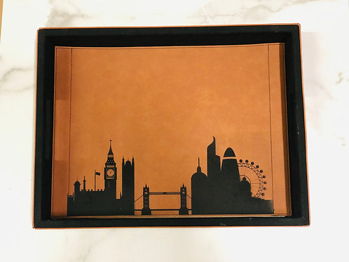City Skyline Faux Leather Tray