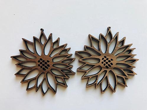 Walnut Sunflower Earrings