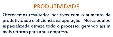 Produtividade: oferecemos resultados positivos com  eficiência na operação.