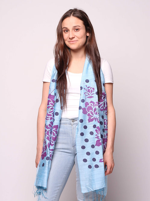 Orchids & Dots Scarf in Sky Blue