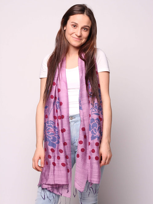 Orchids & Dots Scarf in Plum